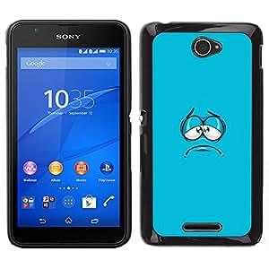 TopCaseStore / la caja del caucho duro de la cubierta de protección de la piel - Blue Cartoon Face Aqua Minimalist - Sony Xperia E4