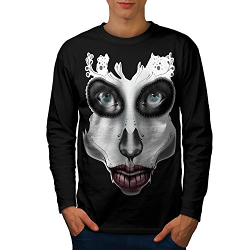 [Sugar Skull Make Up Men NEW S Long Sleeve T-shirt | Wellcoda] (Sugar Skull Costume Tumblr)