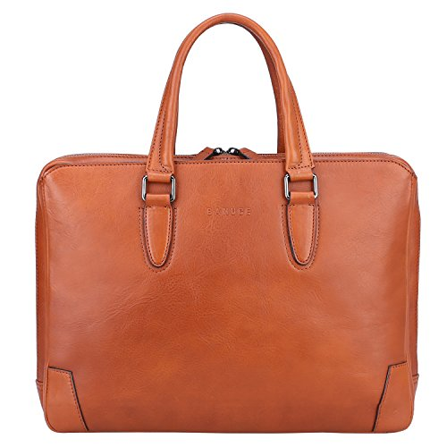 "Banuce Italian Leather Briefcase for Men and Women Business Travel Work Tote Bag Attach Case U-zip 14"" Laptop Organizer by Banuce"