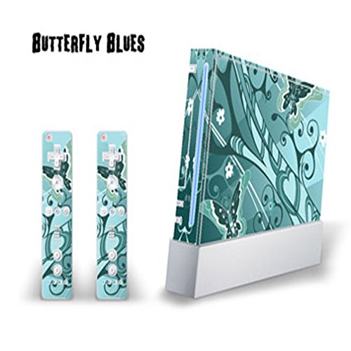 Vinyl Wii Skin - MightySkins Skin Decal Cover for Nintendo Wii Console + two Wiimote Controllers Sticker- Butterfly Blues