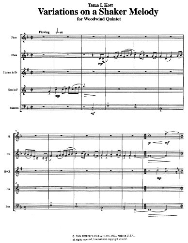 (Variations on a Shaker Melody for Woodwind Quintet by Tama Kott)
