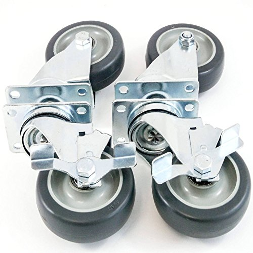 "4"" Caster Wheels Heavy Duty Premium Commercial Grade Non-Marking Set of 4 (All Swivel, 2 with Side Brakes)"