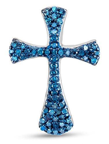 Amazon 10k white gold channel set blue diamond cross pendant 10k white gold channel set blue diamond cross pendant charm 13 cttw mozeypictures Choice Image