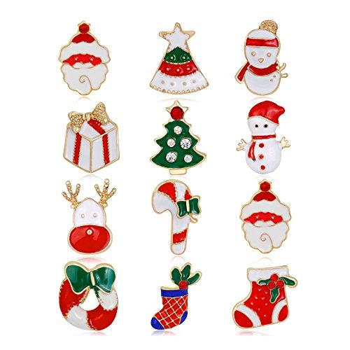 Malyunin Pack Of 12 Enamel Christmas Brooches Santa Claus Pins Set Jewelry Xmas Gifts