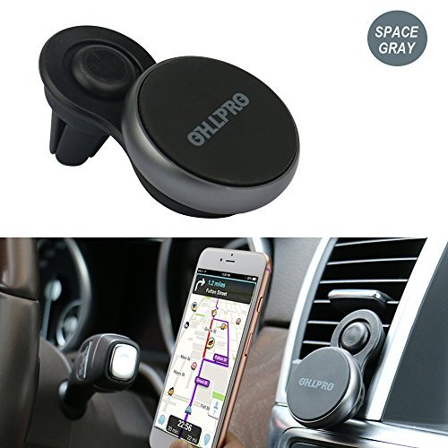 Cell Phone Holder Stand,OHLPRO Dual Magnetic Dock,Compatible with Car Navigation Home Tabletop,Office,Wall,Video Entertainment,Portable Magnet Cradle for iPhone Samsung -All Smartphone (Black)