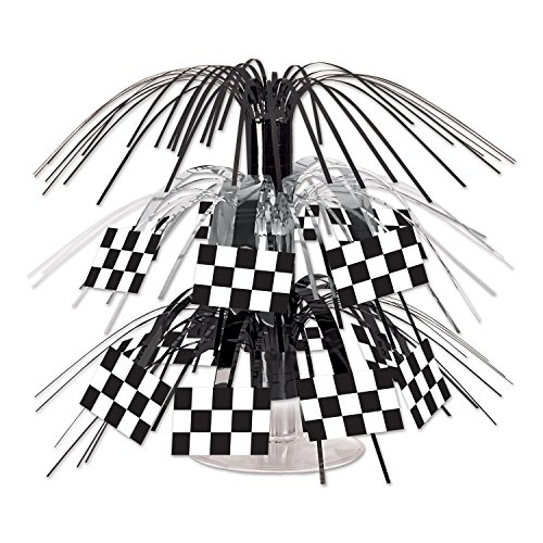 Beistle 54602 Checkered Flag 71/2-Inch Cascade Centerpiece, Mini (Value 3-Pack) by Beistle