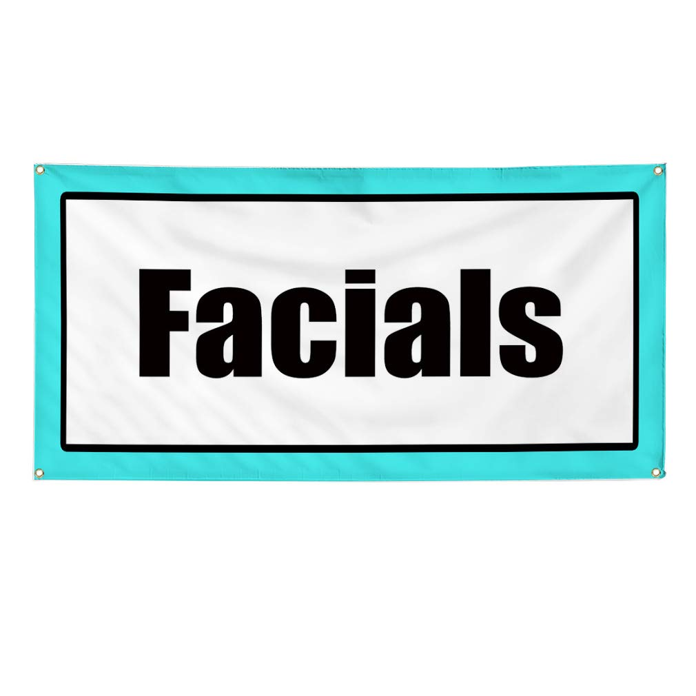 6 Grommets 32inx80in Vinyl Banner Sign Facials Blue Black White Business Facials Marketing Advertising White Multiple Sizes Available Set of 2