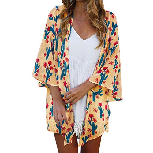 QIQIU Loose Cactus Print Cardigan Women's 2019 Beach Summer Flare Half Sleeve Sun Protection Tops Yellow