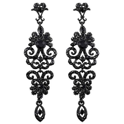 Black/Gold/Silver Vintage Style Wedding Crystal Rhinestone Cluster Chandelier Hollow Dangle Earrings ()