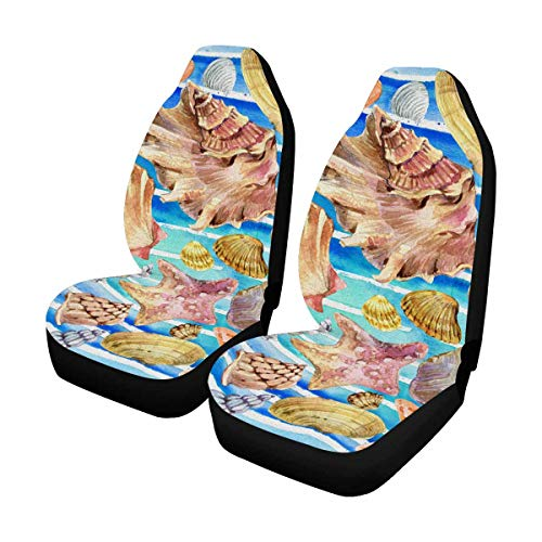 INTERESTPRINT Custom Watercolor Seashell Stripe Car Seat Covers for Front of 2,Vehicle Seat Protector Fit Most Car,Truck,SUV,Van