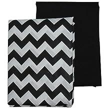 BabyDoll Chevron and Solid Crib Sheets, Black