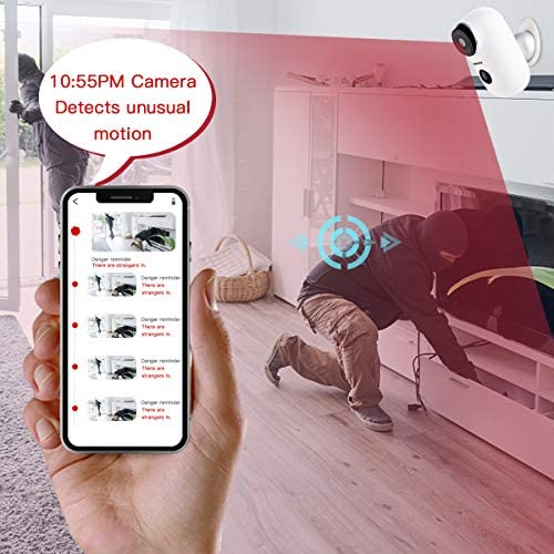 Wireless Rechargeable Battery Powered WiFi Camera, Home Security Camera, Night Vision, Indoor/Outdoor, 1080P Video with Motion Detection, 2-Way Audio, Waterproof, appropriate with Cloud Storage/SD Slot