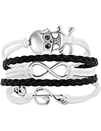 Infinity Skull Music Note Braided Leather Wrap Wristband Bracelets