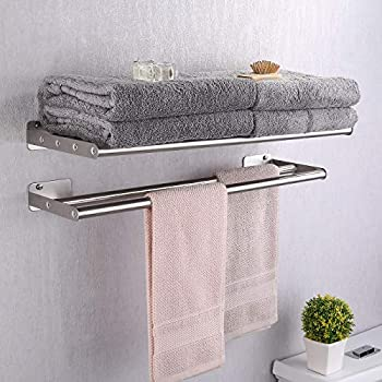 """FPL Oversized 28/"""" Inch Stainless Steel Hotel Towel Rack /& Shelf in 2 Finishes"""