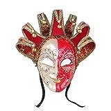 YUFENG Joker Jolly Venetian Masquerade Mask Joker Reale Red and White Masquerade Mardi Gras Mask Decorative Masks
