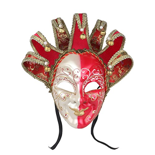 YU FENG Joker Jolly Venetian Masquerade Mask Joker Reale Red and White Masquerade Mardi Gras Mask Decorative Masks