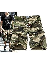 CRAZY Men's Retro Cotton Multi-Pocket Camo Cargo Shorts-dargreCamo-26 [Apparel]