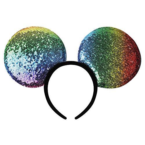YanJie Oversized Sequin Mouse Ear Headband - Glitter Sparkle Mouse Ear Headband Children Adults