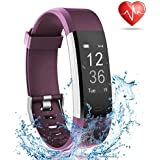 Fitness Tracker with Heart Rate Monitor, Lattie Smart Watch Activity Tracker Pedometer Sports Bracelet with Sleep Monitor Step Calorie Counter Wristband for Android and iOS Smartphone (Purple)