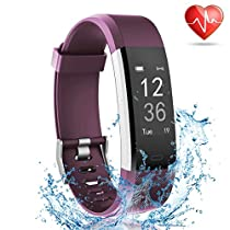 Fitness Tracker with Heart Rate Monitor, Lattie Smart Watch Activity Tracker Pedometer Sports Bracelet with Sleep Monitor Step Calorie Counter Wristband for Android and iOS Smartphone(Purple)