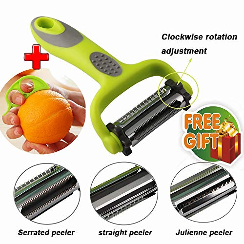 Serrated Peeler+Straight Peeler+Julienne Peeler Multi-function 3-In-1 Vegetable Peeler Fruit Slicer (Free Gift Orange Peeler) Anti-slip Tool Kitchen Gadgets