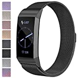 Maledan Metal Bands Compatible with Fitbit Charge 3 & Charge 3 SE, Stainless Steel Mesh Milanese Loop Magnetic Band Replacement Accessories Bracelet Strap with Unique Magnet Lock for Women Men