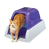 PetSafe ScoopFree Caja de arena para gatos autolimpiante ultra, cubierta, automática con bandeja desechable, púrpura