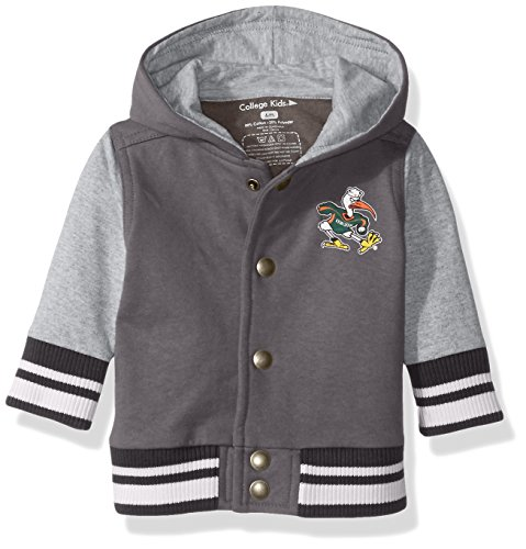 College Kids 15435 NCAA Miami Hurricanes Children Unisex Infant Letterman Jacket, 6 Months, Pewter/Oxford