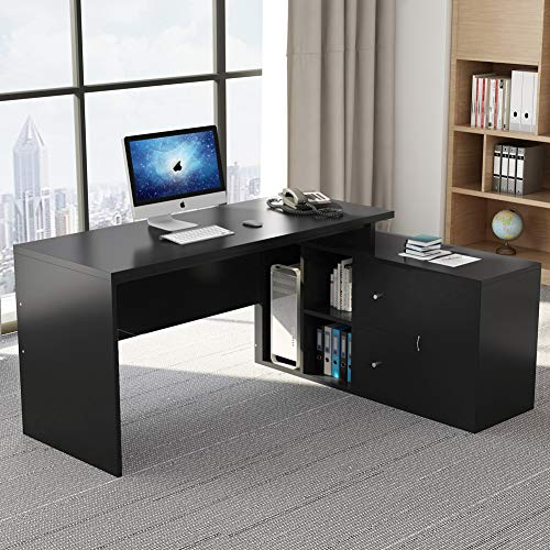 Little Tree L Shaped Desk, Executive Office Desk Computer Table Writing Desk with Cabinet& Storage for Home Office, Black ()