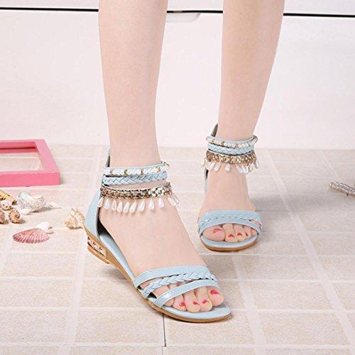 (8.5, Blue) - Women Sandals, Amiley Elegant Platform Shoes Woman Pearl Wedges Sandals Casual Shoes (8.5, Blue)