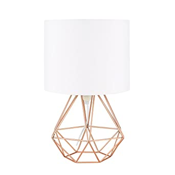 Modern Copper Metal Basket Cage Style Table Lamp With A White
