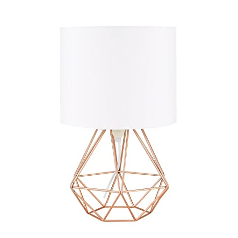 MiniSun - Moderna lámpara de mesa Angus - Con innovadora base de estilo jaula en cobre y pantalla blanca [Clase de eficiencia energética A]
