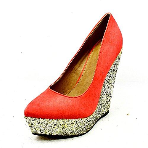 Corallo In Corte Glitter Oro Tacco Zeppa Scarpe Sendit4me Coral Camoscio Da Con 6WqwXFYE