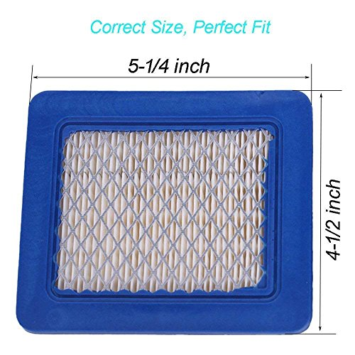 HEYZLASS 5 Pack 491588S Air Filter, Replace for Briggs Stratton 491588 4915885 Flat OEM Air Cleaner Cartridge, Lawn Mower Air Filter