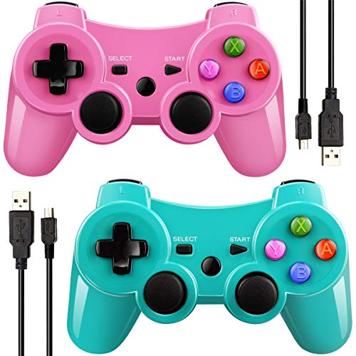 Double Vibrating Wireless Controller for PS3 With Charge Cable (Green+Pink) (Wireless Ps3 Pink Controller)