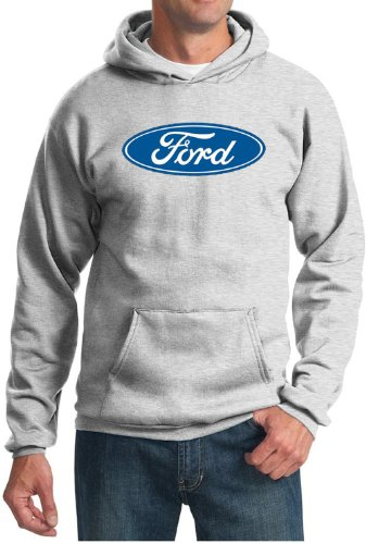 (Ford Logo Hoodie Hooded Sweatshirt - Oval Emblem Adult Hoody (Small, Ash))
