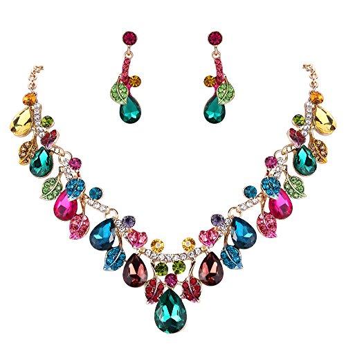 BriLove Wedding Bridal Necklace Earrings Jewelry Set for Women Crystal Enamel Teardrop Cluster Leaf Vine Statement Necklace Dangle Earrings Set Multicolor Colorful Gold-Toned (Drop Bib Necklace)