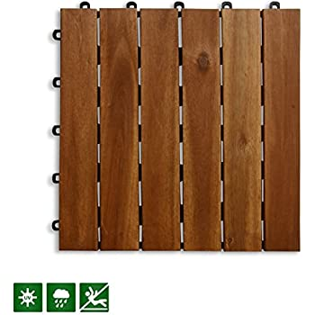 Acacia Wood Tile Flooring, Patio Pavers U0026 Composite Decking | Interlocking  Patio Tiles For Outdoor U0026 Indoor | Stripe Pattern 12u201d×12u201d  Pack Of 11 Tiles