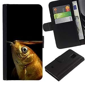 Samsung Galaxy S5 Mini (Not S5), SM-G800 - Dibujo PU billetera de cuero Funda Case Caso de la piel de la bolsa protectora Para (Funny Goldfish)