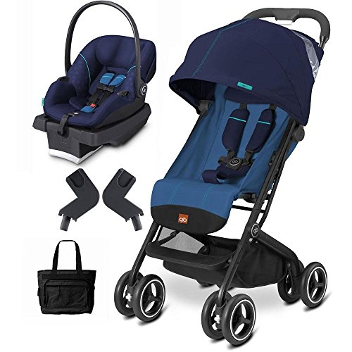 Goodbaby GB QBIT Seaport Blue Asana Infant Car Seat and Stroller Travel System with Diaper Bag by The Good Baby