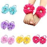ROEWELL® 5 Pairs Baby& Girl Cute Barefoot Shoe Flower Socks Sandals Shoes