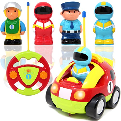 JOYIN Cartoon RC Race Car Radio Remote Control with Music and Sound for Baby and Toddler Toys, School Classroom Prize, Children Holiday Toy for 2 Year (Radio Control Race Car)