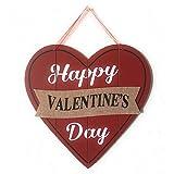 Happy Valentines Day Heart Wooden Wall Decoration, Heart-shaped Red Wood & Burlap Decor, Valentines Hanging sign Door Decor, Love Plaque Valentines Day Door Decor, 11.5 x 11.5 in