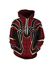 Leezeshaw 3D Patterned Prints Hooded Sweatshirt with Pockets for Mens Womens