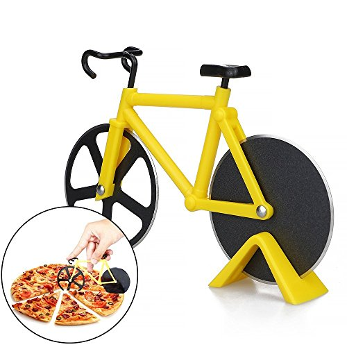 7-Almond Pizza Cutter,Bicycle Pizza Cutters,Dual Stainless Steel Bike Cutter Wheels Display Stand,Kitchen Utensils Pizza Baking Bar Tools(Yellow) ()