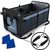 car organizer suv - Car Trunk Organizer by FORTEM | Heavy Duty Collapsible Cargo Storage For SUV Truck & Auto | Straps and Non-Slip Bottom Strips to Prevent Sliding | 100% Waterproof Bottom | Bonus Micro Fiber Towels