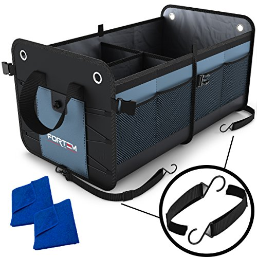Car Trunk Organizer by FORTEM | Heavy Duty Collapsible Cargo Storage For SUV Truck & Auto | Straps and Non-Slip Bottom Strips to Prevent Sliding | 100% Waterproof Bottom | - Go Things Needed Camping To