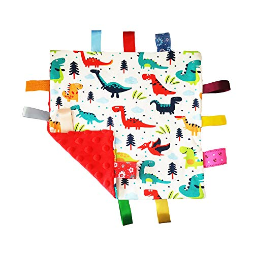 G-Tree Baby Soft Touch Comforter Blanket with Tags - Taggie Comforter/Comfort Security Blanket Toy Great Gift for Toddler Child Kids, Dinosaur Comforter Toy Blanket-Red
