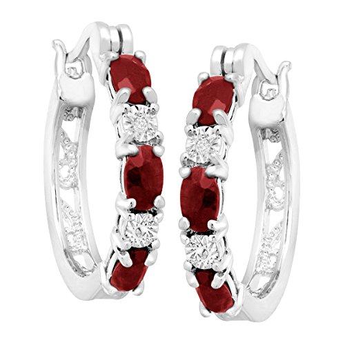 """11/2ct Grenat naturelle Boucles d'oreilles créoles avec diamants en laiton plaqué platine, .875"""""""
