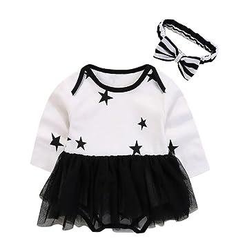 smileq 2pcs bebé Pelele juego de falda para niñas estrellas manga larga Mono Disfraz Vestido con Diadema, negro, 6M: Amazon.es: Deportes y aire libre